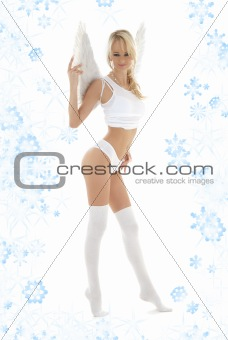 lingerie angel in white stockings with snowflakes
