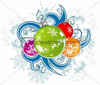 Christmas vector background with baubles