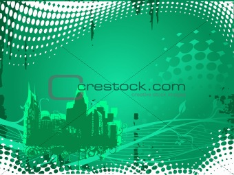 grunge city background in green, illustration