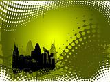Grunge city background in olive green