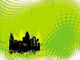 grunge city background in yellow green