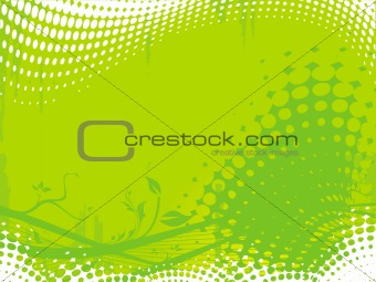 Grunge floral elements background in  yellow green, vector