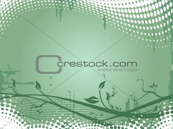Grunge floral elements on dark sea green background, vector