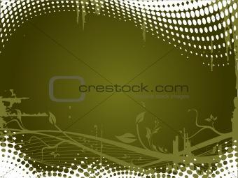 Grunge floral elements on olive background, vector