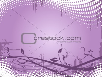 Grunge floral elements on purple background, vector