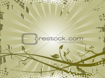 Grunge floral on grey background, vector