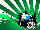 Grunge vector illustration of disc jockey on city background in green