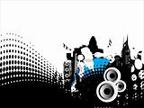 Grunge vector illustration of disc jockey on city background in white