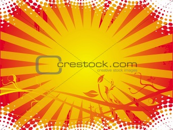 Grungy floral frame background in yellow and red, vector