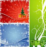 Three Christmas background with Christmas tree &amp; gift