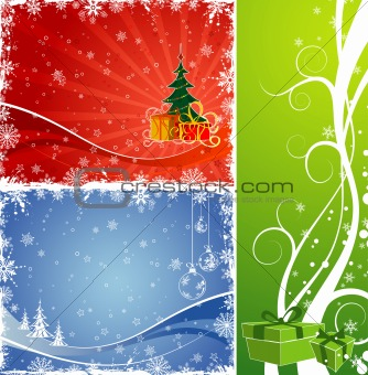 Three Christmas background with Christmas tree & gift