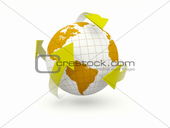 Earth with arrows isolated on white
