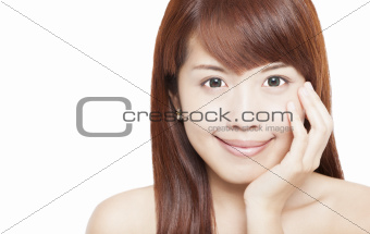 Close up of beautiful asian woman face