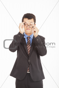 confused businessman with glasses