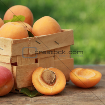 Apricots in a wooden box