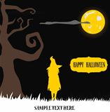 Halloween witch standing in moon light on grass