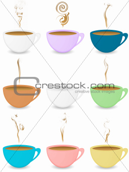 Many colorful coffeecups