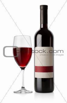 Bottle of red and wineglass