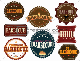 Set of barbeque labels