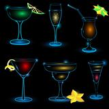 Neon-Cocktail-icon-set