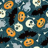 Halloween seamless pattern with pumkins, bats and skulls
