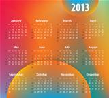 Colorful calendar for 2013 year