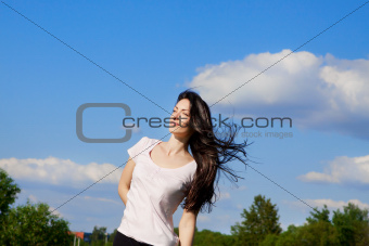 woman with flying long hair