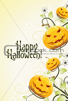 Abstract Halloween Background with Flowers