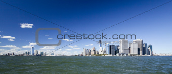 The New York City Downtown w the Freedom tower and New Jersey