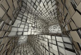 3d futuristic fragmented tiled mosaic labyrinth interior