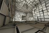 3d futuristic fragmented tiled mosaic labyrinth interior