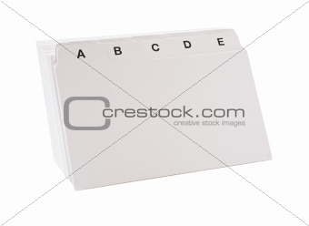 Stack of blank note cards in alphabetic order