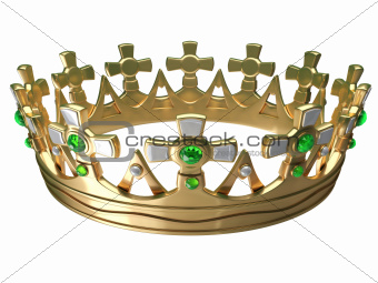 Royal gold crown isolated