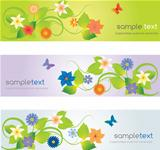 Web headers with flowers
