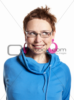 Young woman makes funny face (isolated on white)