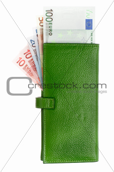 Open green leather wallet with money in it.
