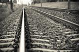 Detail of Railway railroad tracks for trains