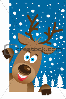 Christmas card with a cute reindeer character