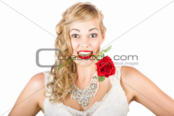 Isolated Woman Holding Rose During Valentines Day