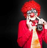 Fun Smiling Clown Holding Camera Taking Happy Snap