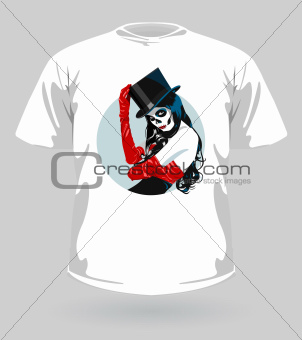 Vector illustration of t-shirt with Sugar Skull girl