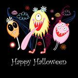 Postcard Halloween monsters