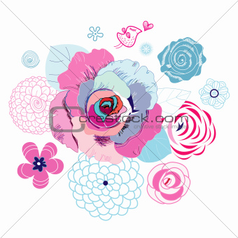 floral background with love bird