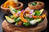 Field salad with grilled pumpkin