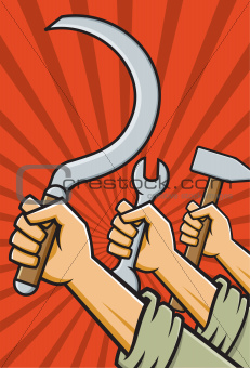 Fists holding tools high