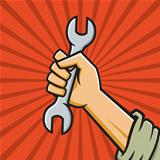 Raised Fist Holding Wrench