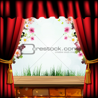 Brick wall and curtain with flowers