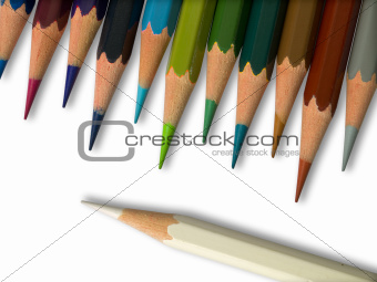 White and Colorful pencil on white background