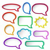 Set of colorful speech bubble frames.