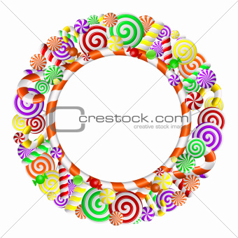 Sweet frame with colorful candies.